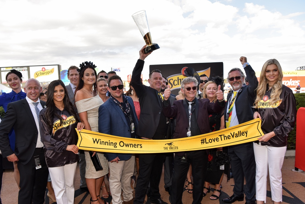 Connections of Lucky Hussler after winning the Group Two Crystal Mile.