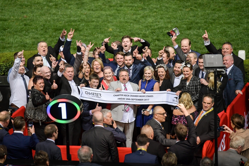 She Will Reign's owners celebrate her win in the Group One Moir.
