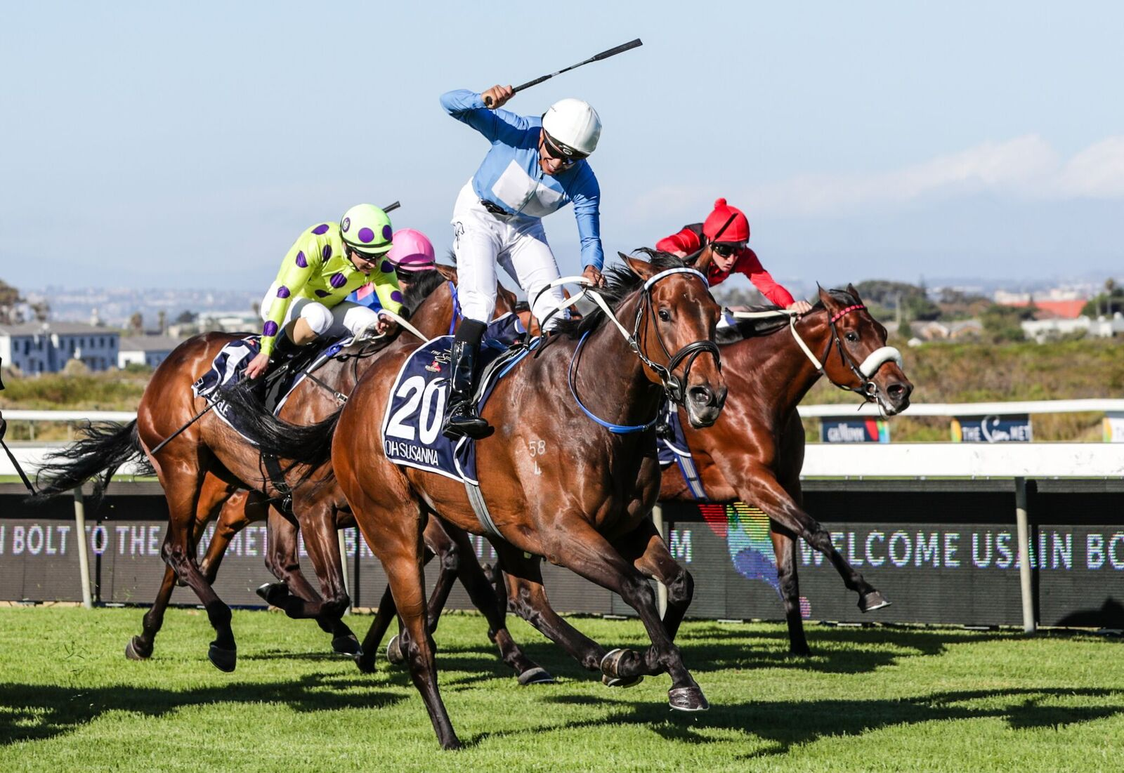 Australian-bred Oh Susanna wins the prestigious Group One Sun met in South Africa.