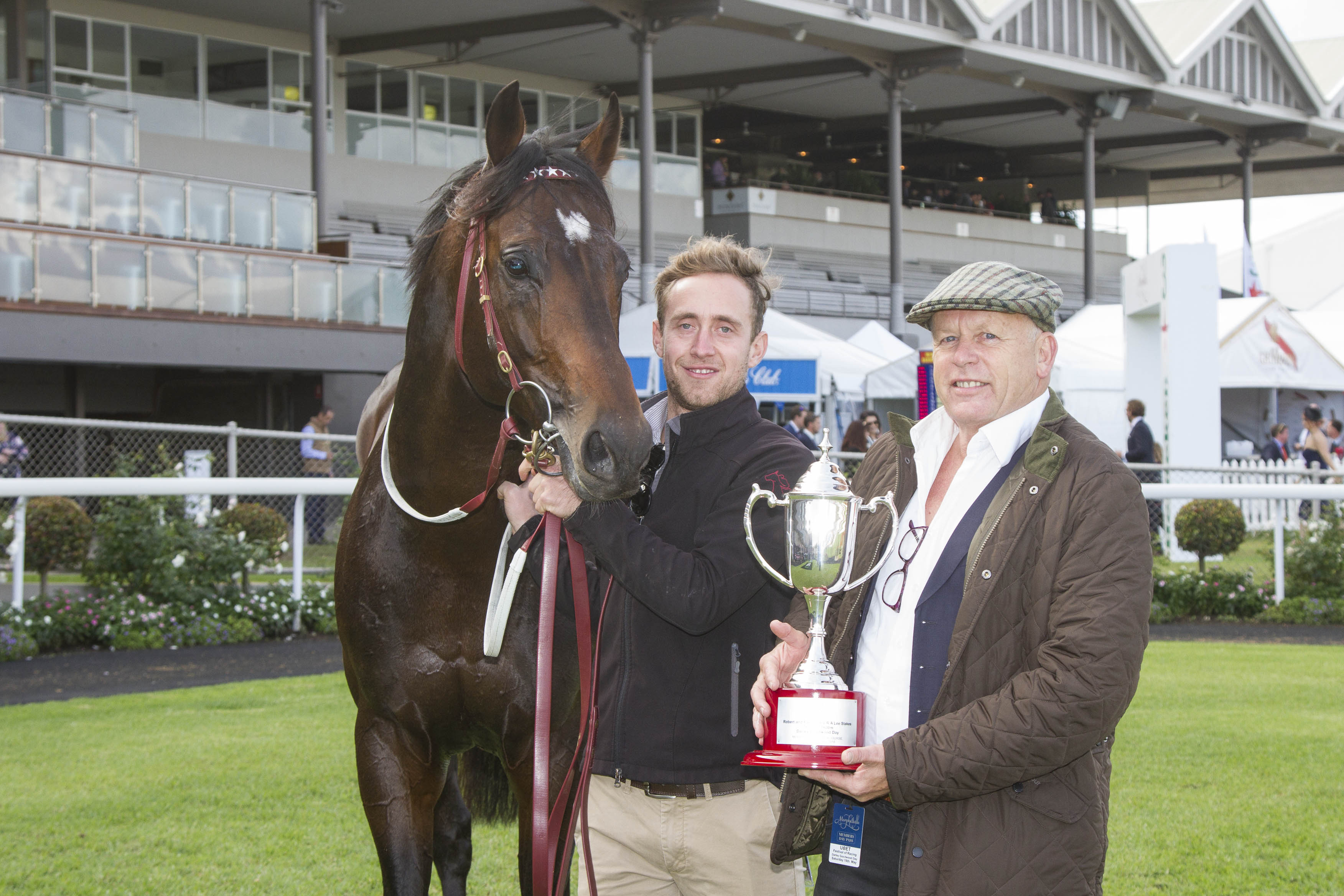 Clive Smith (right ) and Land of Plenty after the RA Lee Stakes win