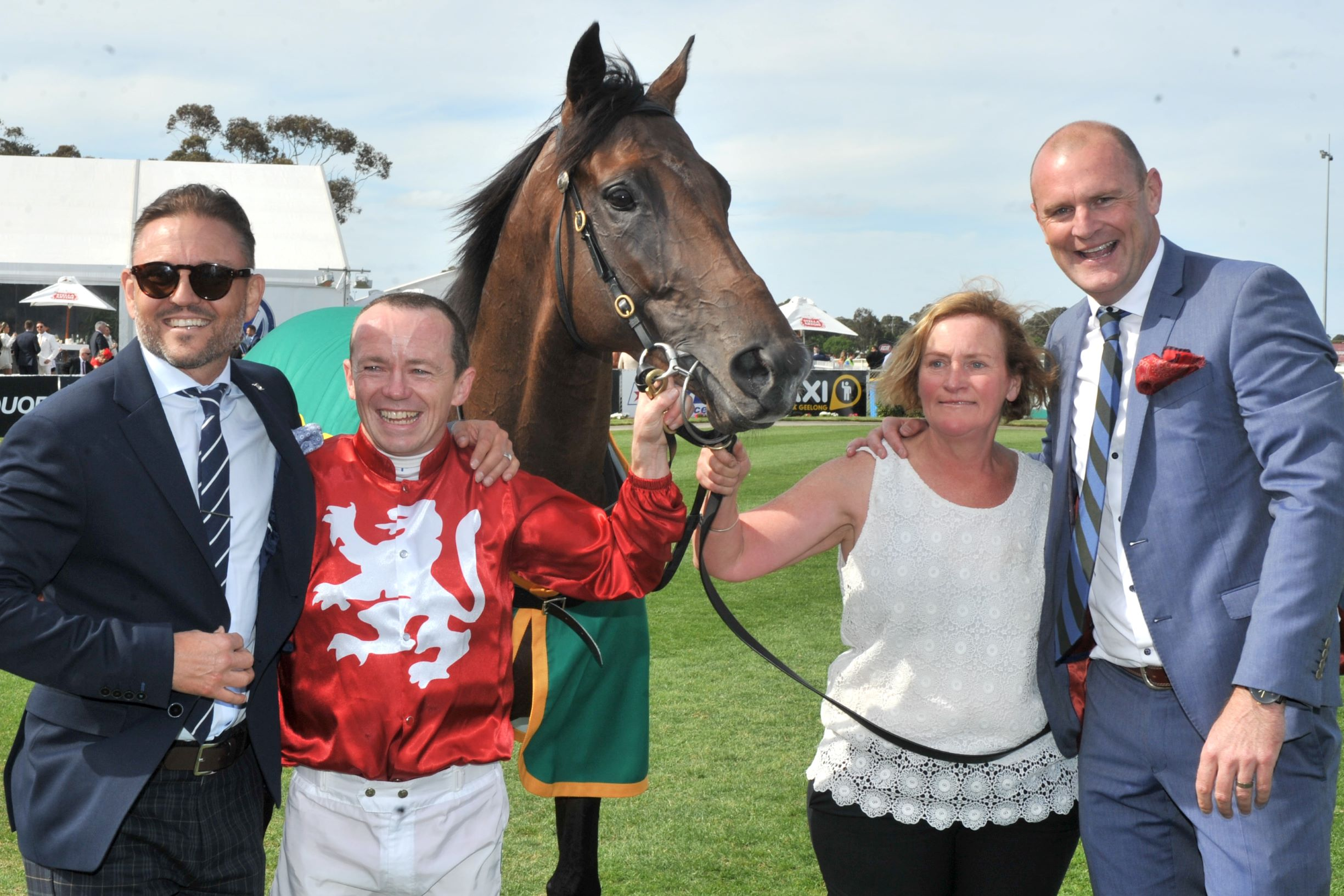 Runaway and connections after Geelong Cup win