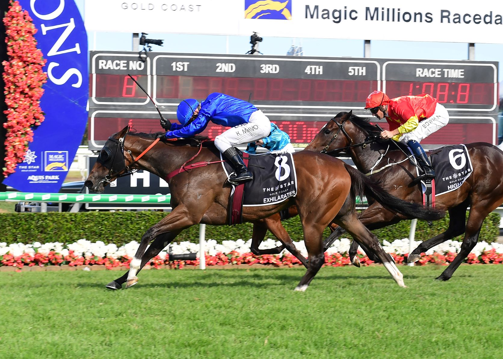 Exhilarates charges home to win the Magic Millions 2yo Classic