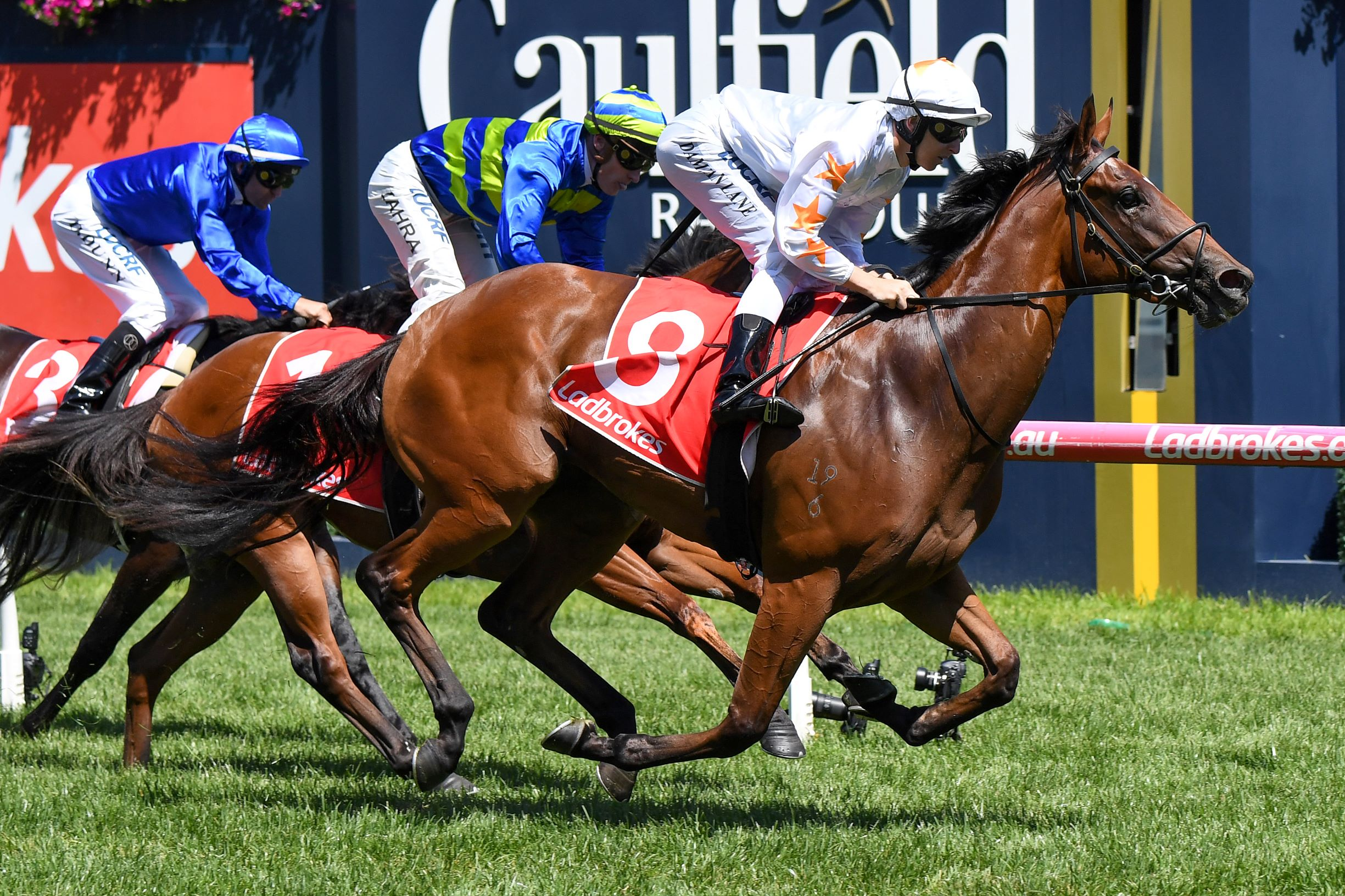 Loving Gaby charges home to win the Group Three Chairman's Stakes
