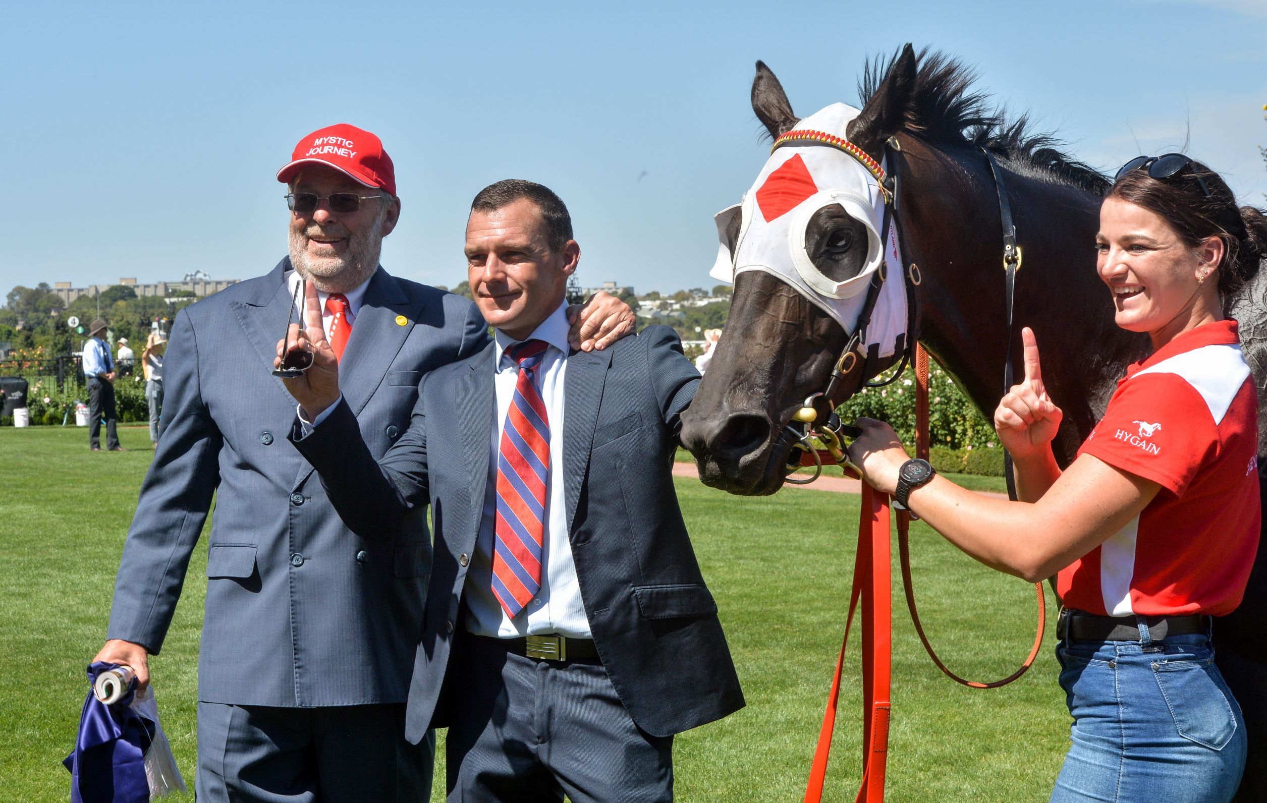 Owner Wayne Roser and trainer Adam Trinder with Mystic Journey after her Australian Guineas win