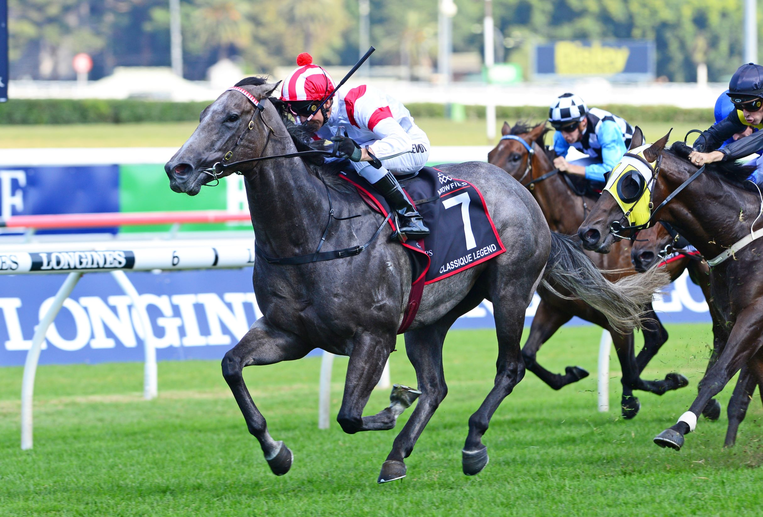 Classique Legend charges home to win the Arrowfield Sprint