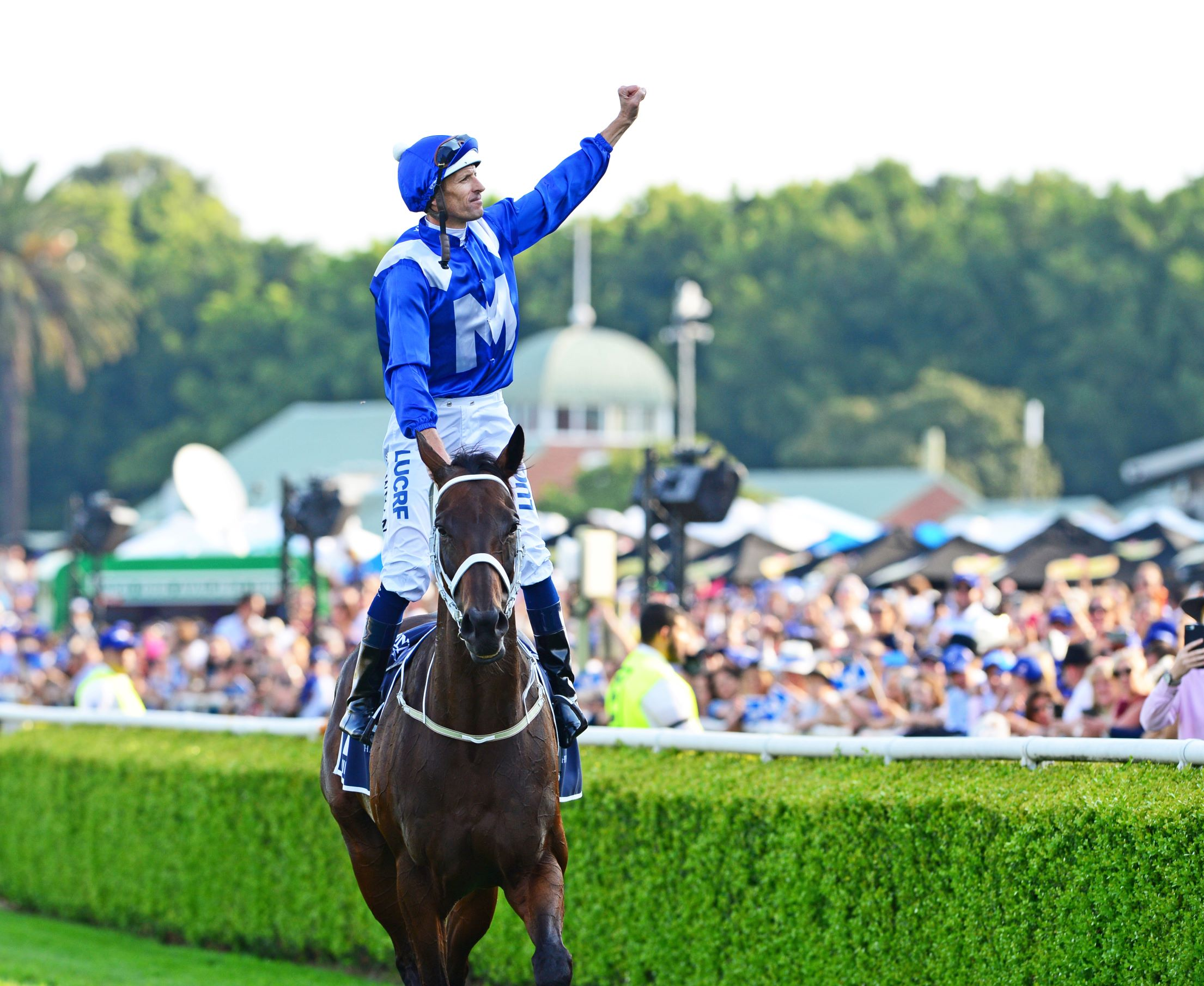 Winx and Hugh Bowman after winning the Queen Elizabeth Stakes