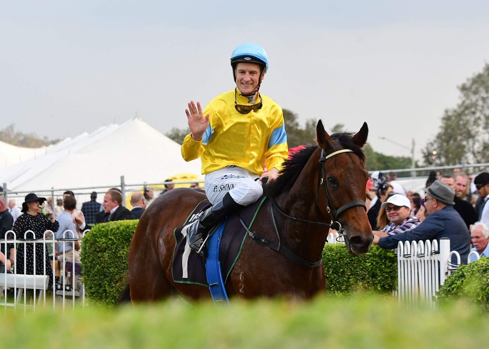 Man Booker and Blake Shinn return to scale after winning the Listed Eye Liner Stakes
